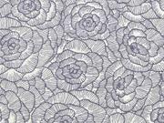 Leinen Viskose Blumen, grau