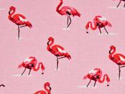 Leinen Viskose  Flamingos, rosa koralle