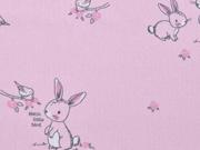 Baumwolle Hasen & Vögel Sweeties, rosa