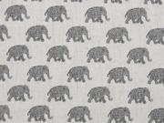 Leinen Viskosestoff Elefanten, ecrue schwarz