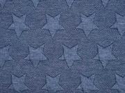 Jacquard Jersey Sterne, dunkelblau melange