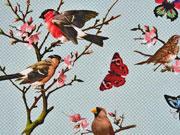 Canvas Digitaldruck Vögel Schmetterlinge, mint