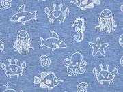 RESTSTÜCK 28 cm Jersey Meerestiere, weiß jeansblau meliert
