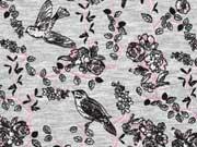 Viskosejersey Vögel und Rosen, grau melange