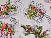 Baumwollsatin Leoparden, hellgrau