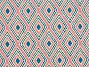 Canvas Rauten Inka Look, altrosa dunkelmint