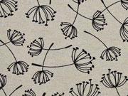 Dekostoff Pusteblume Leinenlook, schwarz natur