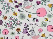 Baumwollstoff Blumen Hasen Tea time Celebrate, weiss