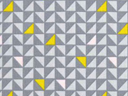 Baumwolle Dreiecke, senfgelb rosa grau