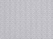 RESTSTÜCK 26 cm Baumwollstoff Wellen, weiss hellgrau