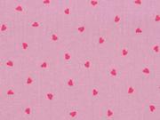 Baumwolle kleine Herzen, pink altrosa
