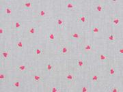 Baumwolle kleine Herzen, pink hellgrau