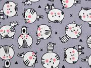Baumwollstoff Katzen Happy Cats, grau