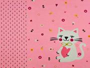Jersey Katze Blumen Panel 3 in 1, rosa