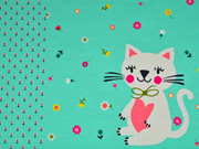 Jersey Katze Blumen Panel 3 in 1, aquamarin
