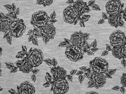 Viskosejerseystoff Rosen, schwarz grau meliert
