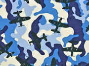 French Terry Sweat Flugzeuge Camouflage, blau