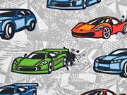 French Terry Sweat Racing cars, hellgrau