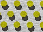 Viskosjersey Punkte Retrolook, grüngelb schwarz grau meliert