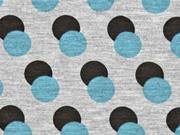 Viskosjersey Double Dots Retrolook, grau türkis