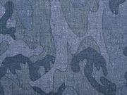 RESTSTÜCK 20 cm wasserabweisender Stoff Outdoor Camouflage, blau