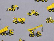 RESTSTÜCK 75 cm Baumwollstoff Fahrzeuge Baustelle, grau