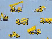 Baumwollstoff Fahrzeuge Baustelle, hellblau