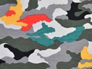RESTSTÜCK 29 cm Jersey Camouflage, grau rot