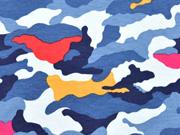RESTSTÜCK 89 cm Jerseystoff Camouflage, blau orange