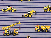 French Terry Sweat Baustellen Fahrzeuge, grau