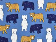 Baumwollstoff Bären Big Bear, jeansblau