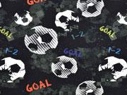 French Terry Fußball Goal Digitaldruck, schwarz