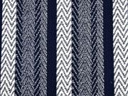 Jacquard Jersey gemusterte Streifen, blau weiss