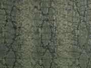 Lederimitat Krokoprägung Schlangendruck, schwarz khaki