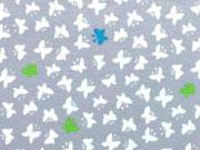 RESTSTÜCK 82 cm Jersey kleine Schmetterlinge, weiss auf hellgrau
