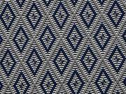 elastischer Jacquard Rauten, grau & blau/ weiß