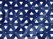 RESTSTÜCK 59 cm Viskosejersey Laser Cut Dreiecke Batik, dunkelblau