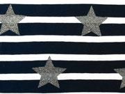 Jersey Streifen mit Glitzersternen 5 cm,weiss/navy