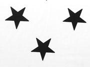 RESTSTÜCK 97 cm Baumwollstoff Sterne 5cm,  schwarz auf weiß