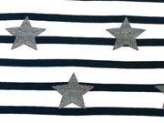 Jersey Streifen mit Glitzersternen 5 cm,navy/weiss