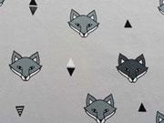 RESTSTÜCK 93 cm Jersey Fuchs Gesichter, hellgrau