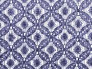 Strickstoff elastisch Doubleface Lace Ornamente, rauchblau