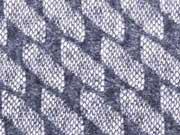 Strickstoff elastisch Doubleface Lace Rauten, rauchblau