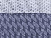 RESTSTÜCK 200 cm Strickstoff elastisch Doubleface Lace Rauten, rauchblau
