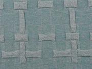 RESTSTÜCK 34 cm strukturierter Jacquard Jersey Kreuze, petrol