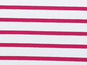 RESTSTÜCK 25 cm Viskose Jersey - rote Streifen 0,7 cm auf weiss