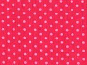 Baumwollstoff kleine Punkte, rosa himbeerrot