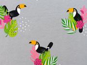 Reststück 75cm Jersey Tukan mit Blumen - grau