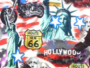 RESTSTÜCK 40 cm Jersey Digitaldruck USA Hollywood Route 66