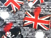 Reststück 60cm Jersey Digitaldruck Totenköpfe & Union Jack